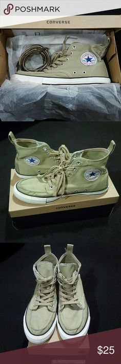 CONVERSE Dickies Edition Classic High Boot UNISEX Tan/khaki color. Only worn once, receipt still in box, as seen in picture. Tiny stain on front of shoe that's probably washable. Other than that, the white on the shoe is very clean. Original packaging & box. Includes extra set of laces that came with the shoe. Box says 8.5 men's and 10.5 women's, BUT this style runs big. This fit my boyfriend and he's a 9.5. Converse Shoes Sneakers