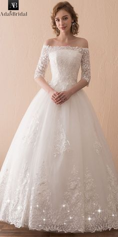 679bf3173e64 [122.99] In Stock Wonderful Tulle Off-the-shoulder Neckline 3/4 Length  Sleeves A-line Wedding Dress With Lace Appliques - adasbridal.com