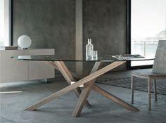 Mesa redonda en madera y vidrio SHANGAI | Mesa en madera y vidrio - RIFLESSI