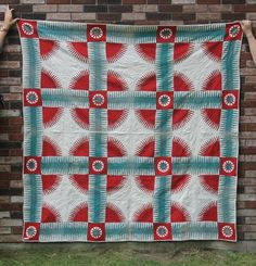 Antique Bold American Folk Art Applique Summer Cotton Quilt ...