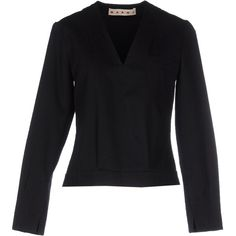 Marni Blouse (19.550 RUB) ❤ liked on Polyvore featuring tops, blouses, dark blue, v-neck tops, side slit top, long sleeve v neck blouse, marni blouse and v neck blouse