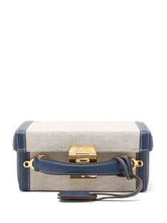 Mark Cross - Grace Small Canvas And Leather Cross-body Bag - Womens - Navy Multi Bag Names, Mark Cross, Small Canvas, Grace Kelly, Friends In Love, Luxury Branding, Leather Crossbody Bag, Red Leather, Shopping Bag