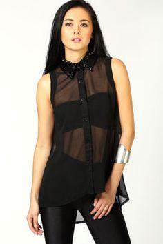 Ava Sequin Collar Sleeveless Shirt