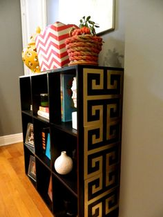 O'verlays: Gallery give a basic bookcase some style. But not in gold and black for me. Ikea Cube Shelves, Cube Shelving Unit, Cube Bookcase, Gold Furniture, Furniture Styles, Painted Furniture, Funky Furniture, Furniture Projects, Ikea Cubes