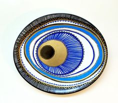 Evil Eye Decor - Decorative Plate - Blue Evil Eye  - Golden Evil Eye - Evil Eye Wall Art - Modern Art - Wall Hanging - Blue Greek Evil Eye by biancafreitas on Etsy