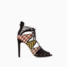 ZARA BLACK MULTICOLOR WOVEN LACE UP ANKLE BOOT SANDAL SHOES    #zara #Laceup