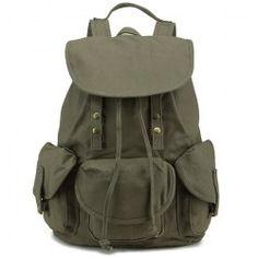 Drawstring Cover Canvas Backpack - Vert Vert