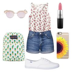 """""""Great for summer☀️"""" by ammarah-razvi on Polyvore featuring Topshop, JanSport, Casetify, Le Specs and MAC Cosmetics"""