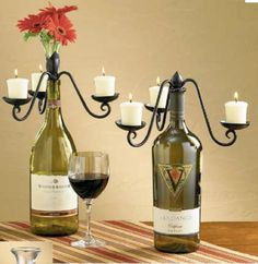 re-purposed wine bottles - might do this with the special occasion champagne bottles