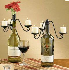 re-purposed wine bottles