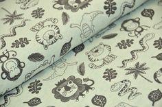 Stoff Tiermotive - Jersey Dschungeltiere *°mint°*  - ein Designerstück von krAwalleuleDIY bei DaWanda