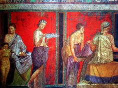 The Villa dei Misteri (Villa of the Mysteries) is a well preserved fresco in the ruin of a Roman Villa which lies around 800 meters north-west of Pompeii, in southern Italy BC.(Pompeii was amazing to visit. I would love to go back! Ancient Pompeii, Pompeii And Herculaneum, Pompeii Italy, Rome Antique, Art Antique, Roman History, Art History, Italian Colors, Roman City