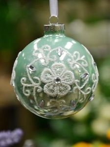 Aqua-Mint-Green-Glass-Ball-Bauble-With-White-Laces-Christmas-Tree-Ornament-N8