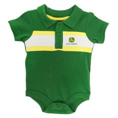 John Deere Infant Boy Striped Logo Polo Bodysuit #VonMaur