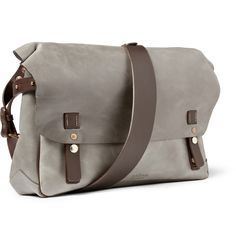 "manzardcafe: "" LEATHER MESSENGER BAG "" British designer Mr Bill Amberg focuses as much on luxurious detailing as he does pin-sharp style. This grey messenger bag features easy-to-use press stud fastenings and has adjustable straps at the side,..."