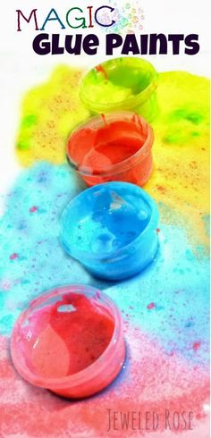 Magic glue paints - fun for kids art projects and activities. Plus, you can make it using only 4 ingredients! #kidscrafts