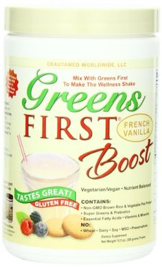 Greens First Boost, French Vanilla, 10.5-Ounce Greens First, Greens first boost gives you the nutrients you need in a delicious, convenient shake. Our pure and wholesome blend nourishes, supports & balances your body with a natural source of non-GMO brown rice & vegetable pea protein, super greens, healthy essential fatty acids, antioxidants, prebiotics, vitamins and minerals