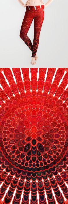 Red Flower Mandala Leggings by David Zydd Flower Mandala, Xmas, Christmas, Printed Leggings, Red Flowers, Activewear, Boho Fashion, Boho Chic, David