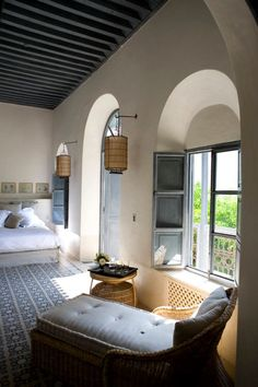 Riad Tarabel - Marrakech, Morocco. Like the dark ceiling and the cement tile…