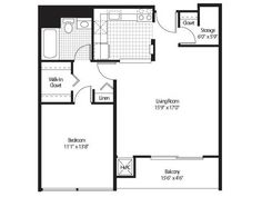 1 for the 1 Bedroom, 1 Bath  Floor Plan of Property Detroit City Apartments. Luxury apartment living with modern resort class amenities in Detroit's Central Business District, Detroit City Apartments.