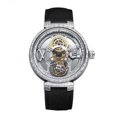 """Louis Vuitton Tambour Moon Tourbillon Volant """"Poinçon de Genève"""" Pavée Luxury Watch Brands, Luxury Watches For Men, Tambour, Ring Bracelet, Bracelets, Tourbillon, Unique Clocks, Louis Vuitton, Wristwatches"""