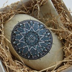 North Star Mandala - stella polare blu e bianco Opera originale pittura su pietra di fiume Regalo Amicizia Speranza Ritrovare la Via di merveilleuseboutique su Etsy