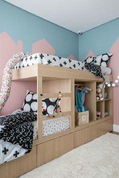 Home Decoration For Birthday Party Key: 8496041473 Baby Bedroom, Girls Bedroom, Bedroom Decor, Bunk Rooms, Bunk Beds, Girl Bedroom Designs, Dream Rooms, Girl Room, Toddler Bed