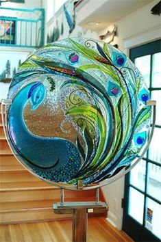 Kiln-formed Glass Peacock - Jamie Kersey Designs