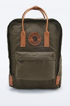 Fjallraven Kanken No. 2 Dark Olive and Leather Backpack - Urban Outfitters