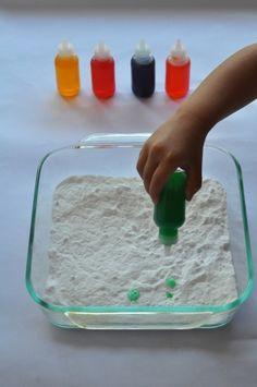 Toddler science - baking soda and vinegar.