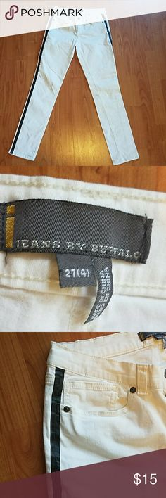 Jeans by Buffalo white black tuxedo striped skinny These genes have been more and better in like new condition. They are white with a black tuxedo stripe down the side. The style is Gabriel. The waist measures at 13.5 inches but does have some stretch to it. There is a Satan tries. An inseam is 28.5 inches Jeans by Buffalo  Jeans Skinny