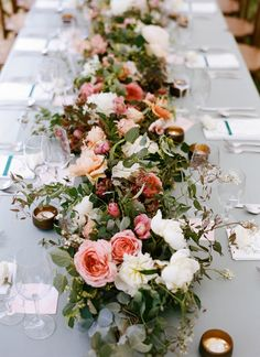 Jamie and Alex at Hotel Park City – Green Ribbon Parties Wedding Table Centerpieces, Wedding Table Settings, Floral Centerpieces, Wedding Decorations, Spring Wedding Flowers, Rustic Wedding Flowers, Floral Wedding, Table Flower Arrangements, Table Garland