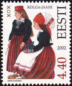 Estonia Stamp 2002 - Folk Costume of Kolga-Jaani. Re-pinned for you by #EuropassEurope.