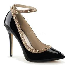 """The Amuse 28 is an eye-catching two tone pump with a high heel and a 3/8"""" hidden platform. It features stud accents and an adjustable ankle strap."""