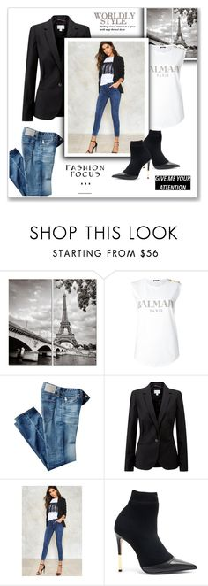 """Paris~ My favorite city"" by nena19sm ❤ liked on Polyvore featuring Balmain, AG Adriano Goldschmied, Pure Collection, Nasty Gal and inamoreconlamoda"