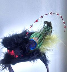 Decorated black hat by Kitsart on Etsy, $16.00