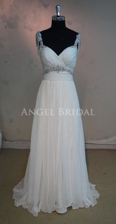 Beading Open back Ivory Silk Chiffon Wedding dress by AngelBridal, $299.00