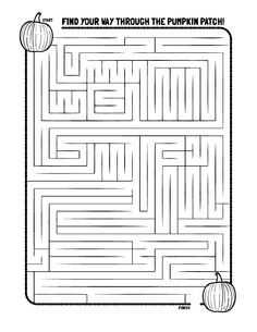Pumpkin Maze Coloring Pages Thanksgiving Activities For Kids, Halloween Activities, Autumn Activities, Thanksgiving Crafts, Craft Activities For Kids, Halloween Crafts, Holiday Crafts, Holiday Fun, Pumpkin Coloring Pages
