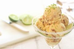 Key Lime Pie Gelato - A deliciously creamy, tart and sweet Key Lime Gelato with ribbons of Graham Crackers