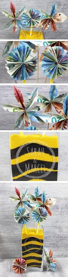 Personalisierte Hochzeitsvase mit kreativen Geldblumen. Geldgeschenk zur Hochzeit (oder Geburtstag, Weihnachten, etc.) mit Schritt-für-Schritt-Anleitung.