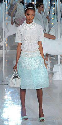 Jasmine-Tookes in blue Louis Vuitton skirt white blouse