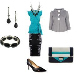 """""""Work smart"""" by willowtree24 on Polyvore Love the top, different grey blazer and like the long black skirt (no print)"""