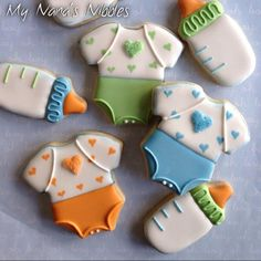Baby Girl Cookies, Onesie Cookies, Baby Shower Cookies, Sugar Cookie Royal Icing, Iced Sugar Cookies, Fancy Cookies, Cute Cookies, Cupcakes, Cupcake Cookies