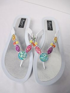 43659e68af0d48 Grandco Women s Ladies SMOOTH Thong Sandal Shoe WHITE Flip Flop NWT Sizes  7