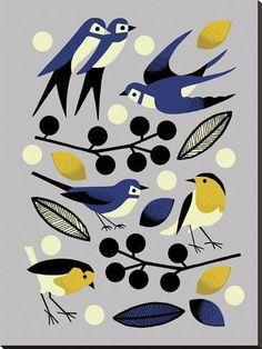 Love these birds by nadia taylor via print & pattern Art And Illustration, Vogel Illustration, Pattern Illustration, Stretched Canvas Prints, Bird Art, Printmaking, Illustrators, Folk Art, Art Prints