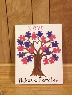 Guest sign in, family tree, adoption baby shower, found our missing piece.