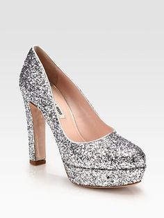 Miu Miu Glitter Leather Platform Pumps