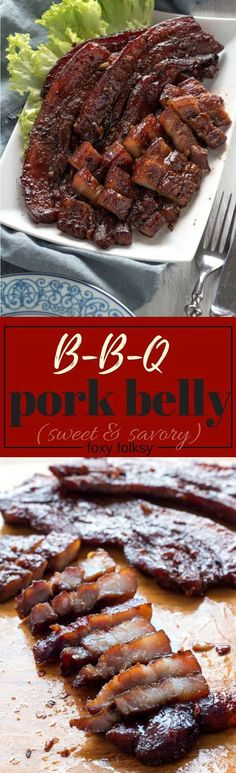 Get recipe for this sticky, sweet and salty BBQ Pork Belly in oven! | www.foxyfolksy.com