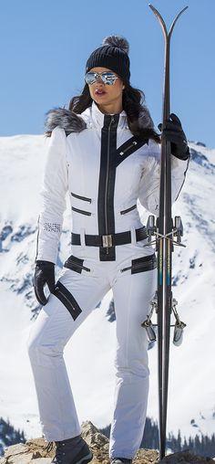 Spyder Women's Eternity 1-piece Ski Suit in White; Slimming princess seams, real fox fur trim and custom removable belt