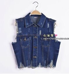washed denim vest waistcoat water holes in the Delta short lace small sleeveless denim jacket